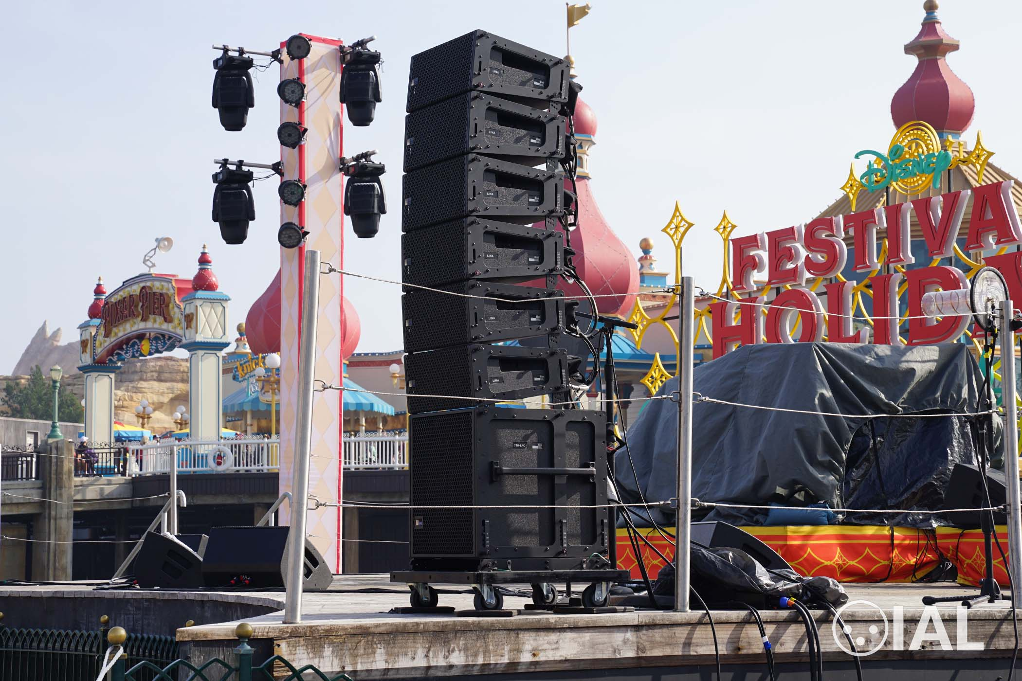 Pictured are Meyer Sound LINA line array elements and a 750-LFC subwoofer.