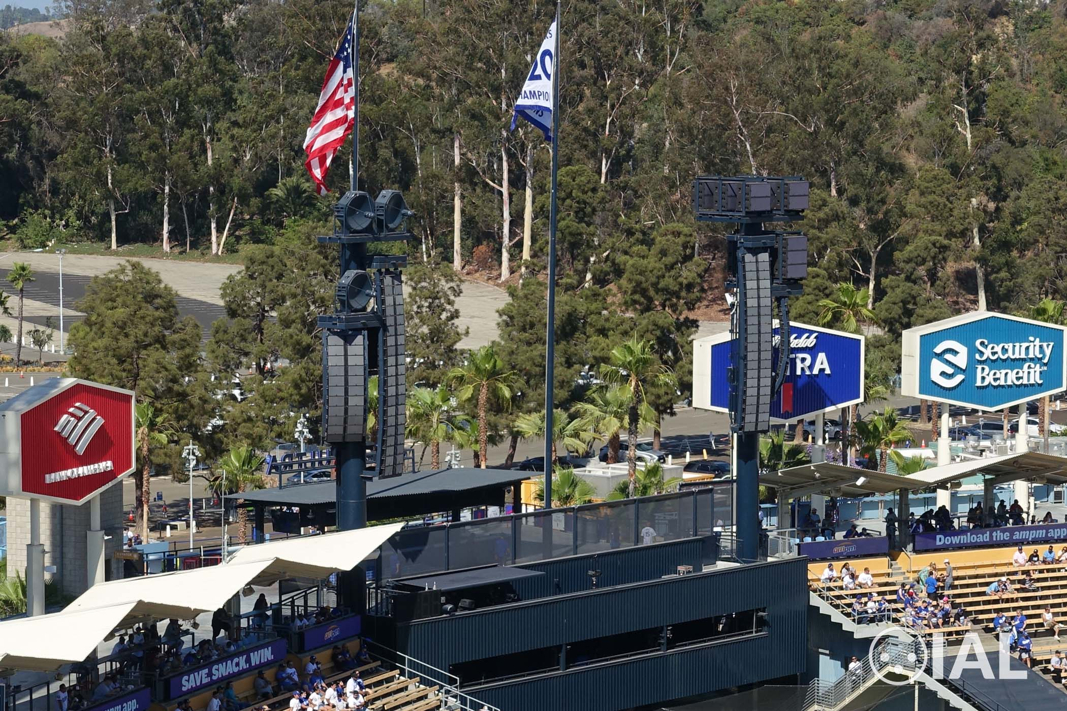 This is a photo of an audio installation at Dodger Stadium featuring primarily L-Acoustics K2 and SB28 speakers.