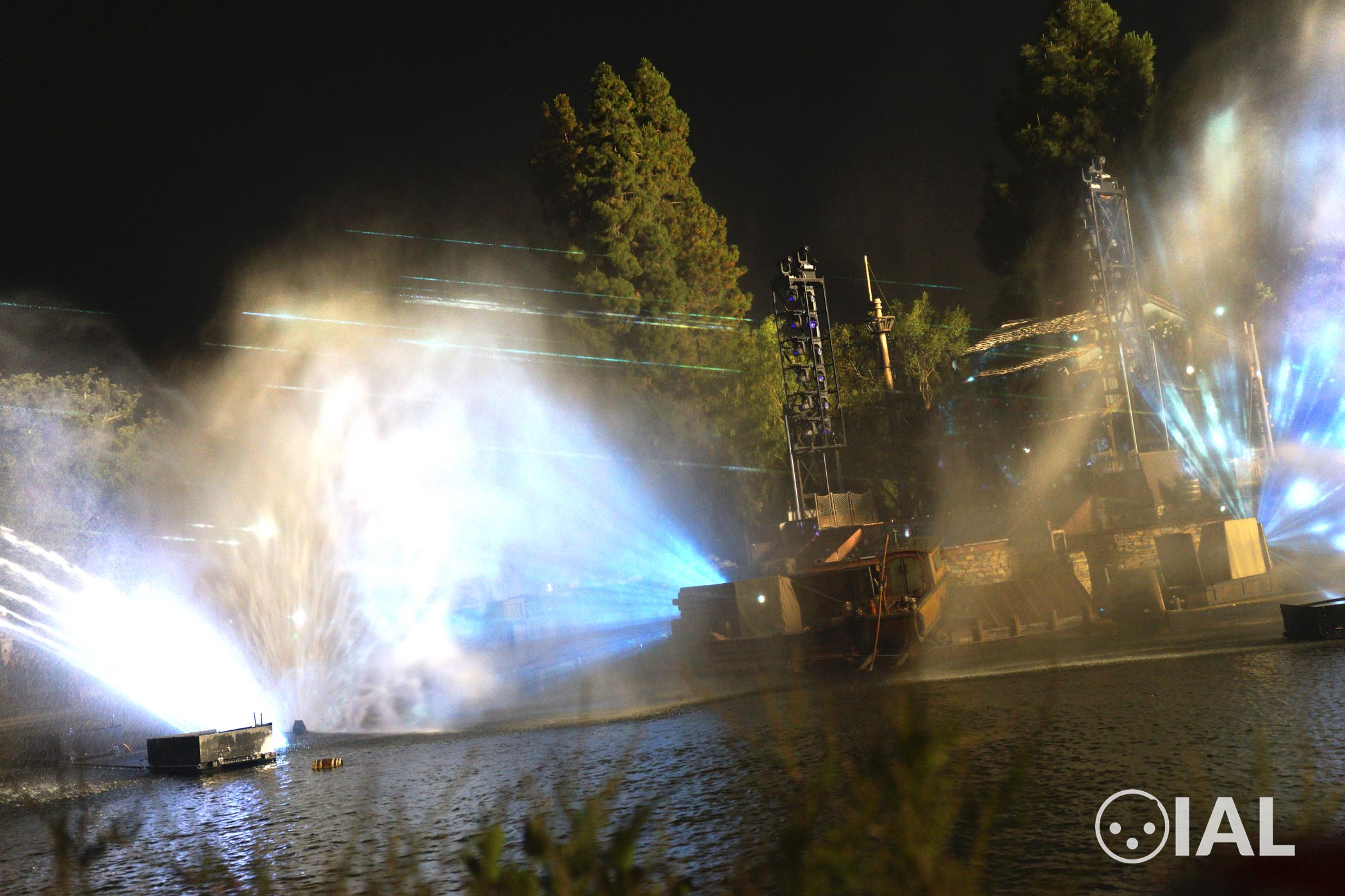 Pictured are Robe MMX WashBeams and BMFL WashBeams on two masts at Fantasmic