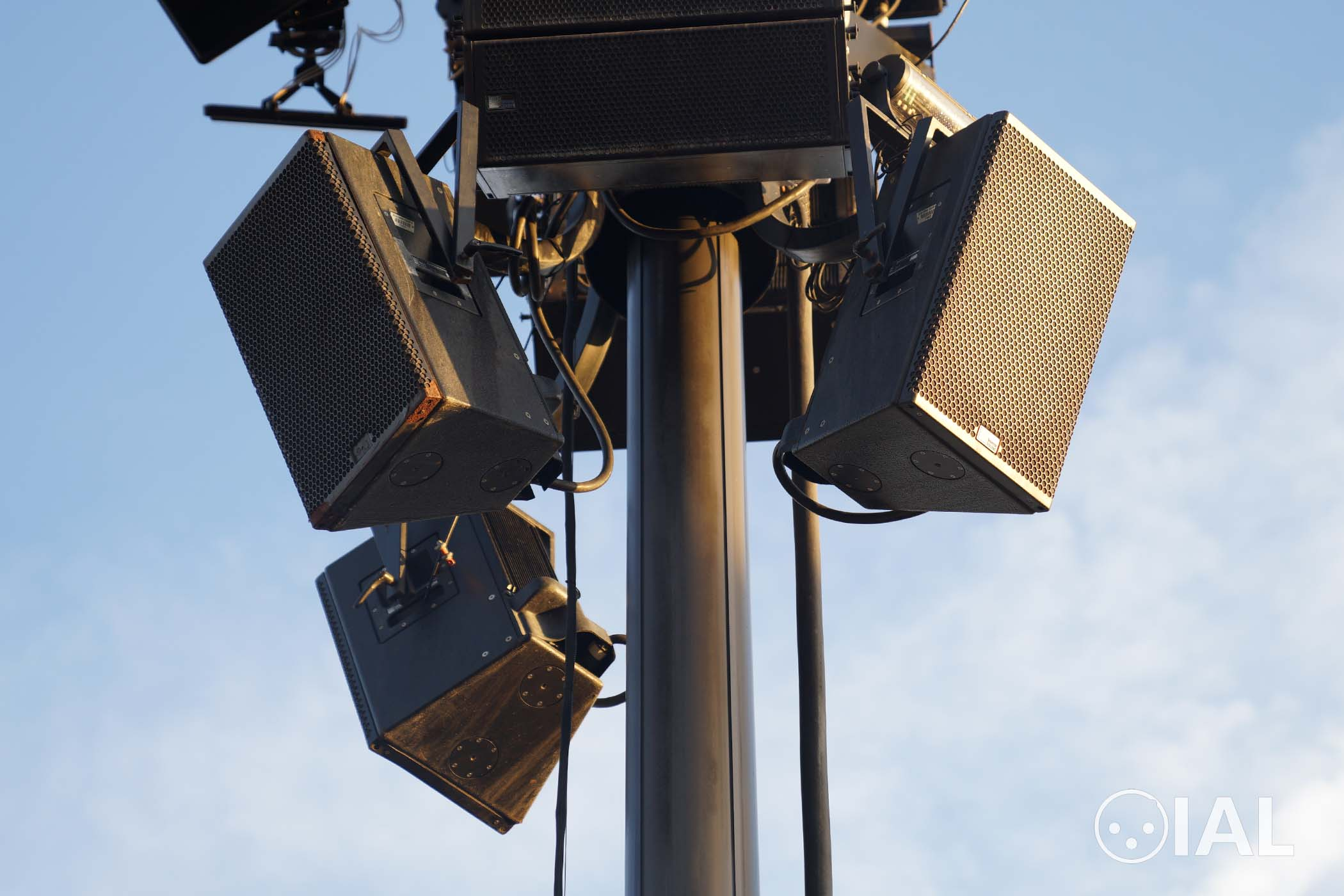 Pictured are three Meyer Sound UPA-1Ps mounted on a telescoping mast for World of Color.