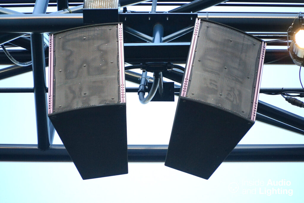 A close-up of Electro-Voice X-Array speakers