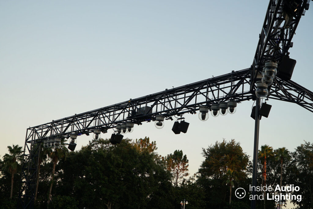 A broad look at the primary structure holding audio and lighting