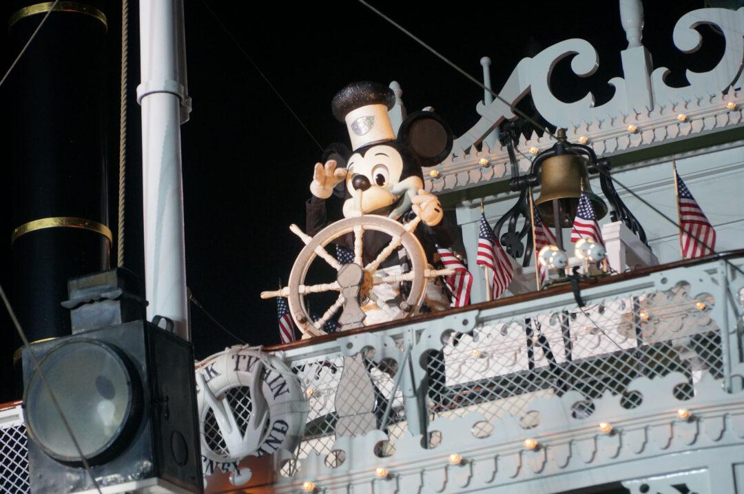 Mickey Mouse on the Mark Twain for Fantasmic!